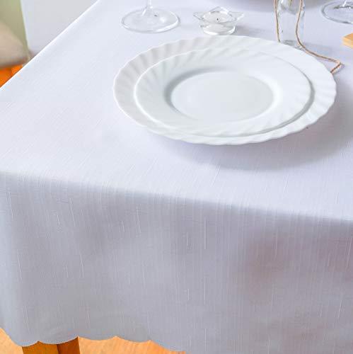 Mantel antimanchas blanco turco X-Mas de poliéster, antiderrames, resistente al piso, no necesita planchado, día festivo, Navidad, cena, mantel cuadrado de 152 x 178 cm