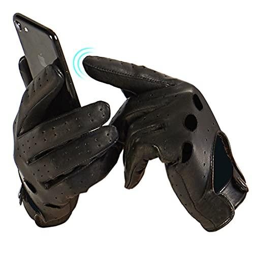 Harssidanzar Uomo Touchscreen che guida touch screen guanti di pelle di pecora sfoderato GM026EU,nero,Taglia L