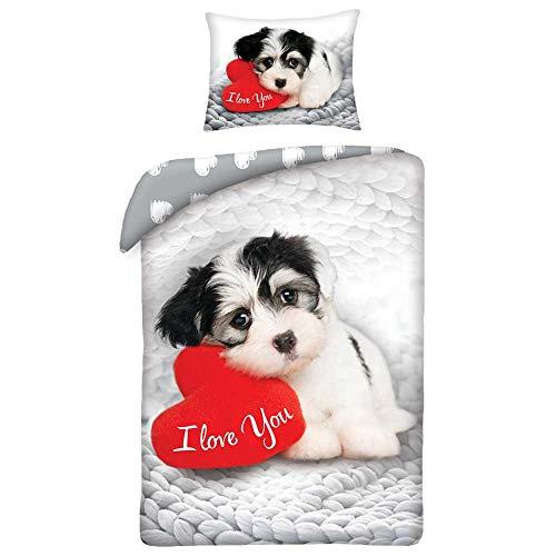 Valentines Sweet Dog Copripiumino 140 x 200 cm + 1 federa 70 x 90 cm – Cotone