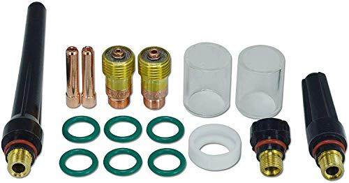 Lente de gas TIG de 1,6 mm 2,4 mm Kit de consumibles de la taza Pyrex 10# para WP SR 17 18 & 26 Antorcha de soldadura TIG, 16 piezas