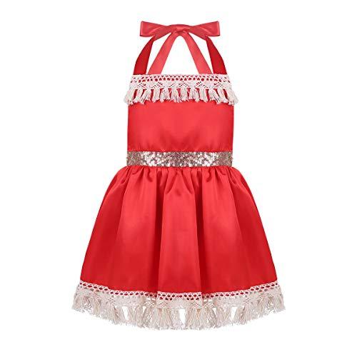 iiniim Robe de Princesse Noël Bébé Fille Satin Bretelles Robe de Soirée Cocktail Vêtements de Danse Photographie Performance Robe Anniversaire Carnaval Rouge 6-24 Mois Rouge 18-24 Mois