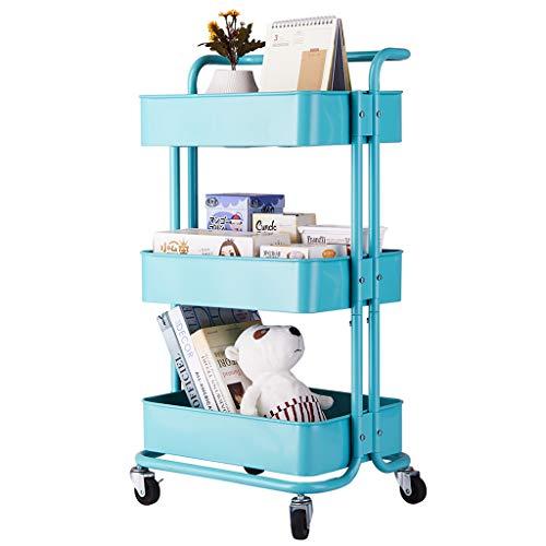 Rolwagen, 3-plank rek, organizer met handvat, kruiwagen voor thuis, keuken, kantoor (wit)