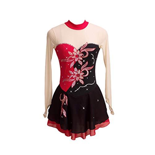 Kaiyei Vestido de Patinaje artístico Vestido de Patinaje sobre Hielo para Mujeres de Royal Royal Chemical Fiber Blend Material de Nylon Hecho a Mano Taladro Negro Rojo S