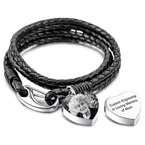 MeMeDIY Pulsera De Urna Personalizada con Nombre De Foto Grabado para Mujeres Niñas Hombres Cadena De Cuero Genuino Colgante De Acero Inoxidable Perro Gato Mascota Soporte para Cenizas Humanas