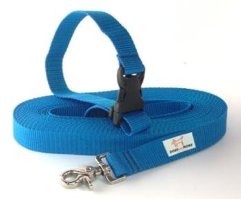 Dogs and More–Extensible Laisse avec dragonne lösbarer–Base 10m (Champ 25mm de Large)/avec dragonne/Bleu–Laisse