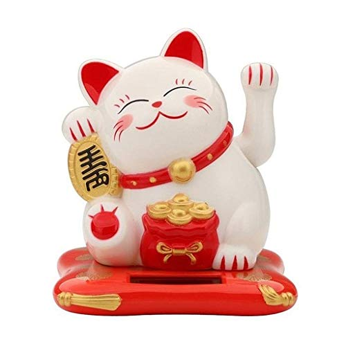 Dong 1pcs Mini Lucky Cat Statue Ornaments, Fortune Cat Sculpture Welcoming Crafts, Animal Figurines Model Decor For Car/Hotel/shop/Restaurant (Color : White)