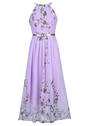 Ruiyige Women Summer Boho Halter Long Maxi Casual Dresses Purple XL
