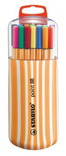 Fineliner - STABILO point 88 - Box Zebrui - Astuccio con 20 Coloriassortiti