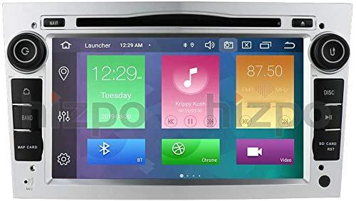 Android 10 Autoradio 4+64G para Opel Opel 2 DIN Radio GPS Control del Volante Bluetooth Reproductor de DVD WiFi 4G RDS DSP Dab+ Entrada de Vista Trasera USB Botones LED Plata