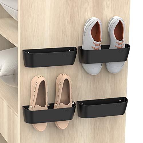 Estante de zapatos montado en la pared con tiras adhesivas para colgar, organizador de almacenamiento de zapatos de plástico, perchas para zapatos de puerta..