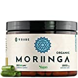 Organic Moringa Oleifera 180 Vegan Capsules - 100% Pure Leaf Powder NO Additives - 600mg Capsule - 1800mg Serving - Green Superfood Supplement Vitamins Nutrients - Boost Energy Improve Brain Function