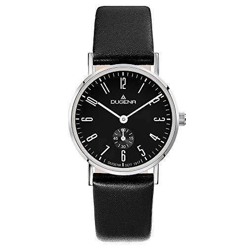 Dugena Damen Quarz-Armbanduhr, Saphirglas, Lederarmband, Mondo, Schwarz/Silber, 4460665