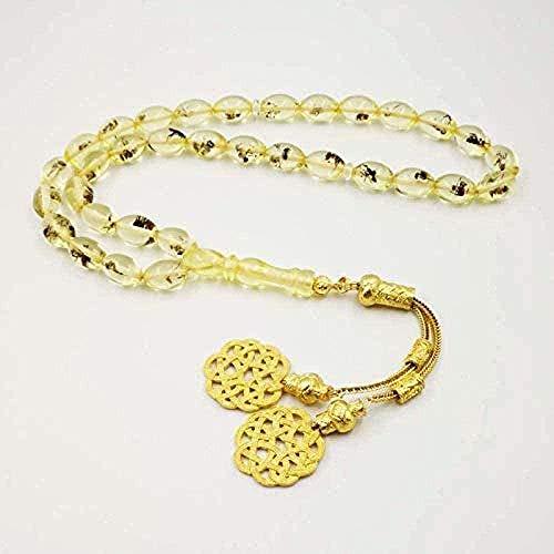 BEISUOSIBYW Co.,Ltd Regalos de Collar Collar de Insectos de Moda 33 Golden Kazaz Borla Eid Regalo para Musulmanes Cuentas de oración Rosario Hombres S Pulseras de Resina turcas islámicas
