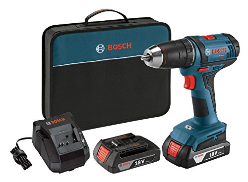 Bosch 18-Volt Compact Tough Drill/Driver Kit DDB181-02 with 2 Lithium Ion Batteries, 18V Charger, and Soft Carry Contractor Bag