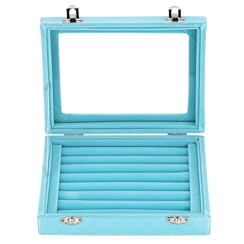 LANTWOO Velvet Glass Jewelry Display Storage Box Ring Earrings Jewelry Box Ring Holder Case, 2 Clasps