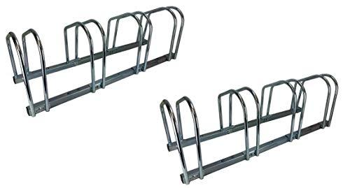 Set of Two - 4 Bike Bicycle Stand Parking Garage Storage Organizer Rack Silver