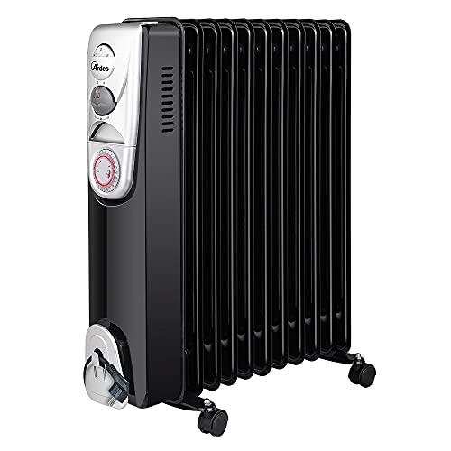 Ardes AR4R11BTE OILO 11T Radiador de aceite eléctrico con 11 elementos calefactores, temporizador, 3 potencias, ventilación turbo, con ruedas, 2500 W, negro y plateado