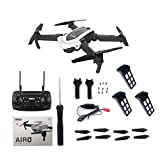 Clockeirin 4D-8 WiFi Pliable RC Drone 5MP caméra positionnement de Flux Optique Avion Blanc 3 Piles