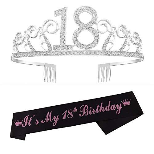 Reyok - Tiara de cristal para el 18º cumpleaños, corona de cumpleaños, corona de princesa, accesorios para el pelo, color plateado para fiestas de cumpleaños o tartas de cumpleaños