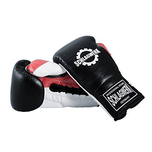 SCHLAGWERK Premium Boxhandschuhe Pro Sparring und Training L3 Echtleder 16 oz für Männer/Frauen/Jugend geschnürt (Schwarz/Weiß/Rot)