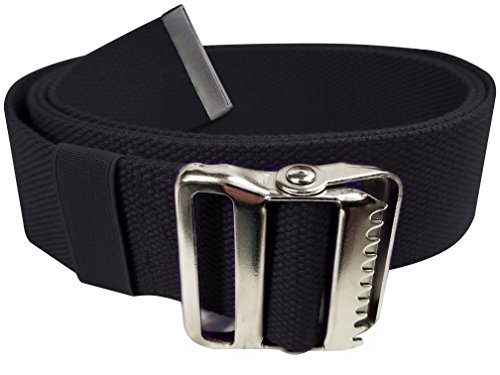 LiftAid Walking Gait Belt and Patient Transfer with Metal Buckle and Belt Loop Holder for Nurse, Caregiver, Physical Therapist (Black, 60')