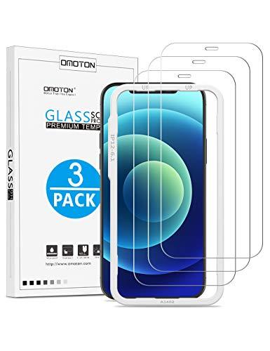 OMOTON Schutzfolie kompatible mit iPhone 12 und iPhone 12 Pro, 6.1 Zoll,mit Schablone,9H Härte,Anti-Kratzer,Anti-Öl,Anti-Bläschen,einfache Montage,3 Stück