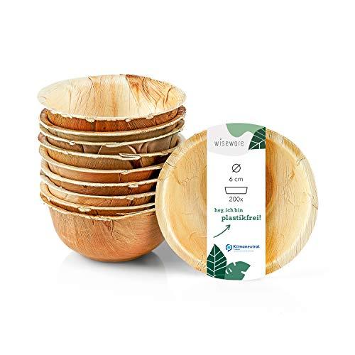 Wiseware - Cuenco para salsas (200 unidades, redondo, 6 cm de diámetro, biodegradable, platos biodegradables, vajilla para fiestas, biodegradable, vajilla desechable orgánica)
