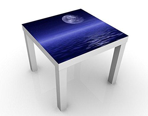 Apalis Table Basse Design Moon and Ocean 55x55x45cm, Tischfarbe:Weiss;Größe:55 x 55 x 45cm