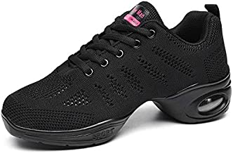 Women's Jazz Shoes Lace-up Sneakers - Breathable Air Cushion Lady Split Sole Athletic Walking Dance Shoes Platform Black,8