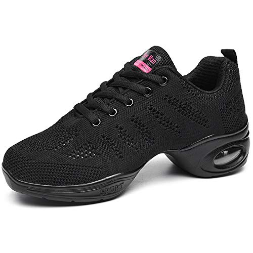 Women's Jazz Shoes Lace-up Sneakers - Breathable Air Cushion Lady Split Sole Athletic Walking Dance Shoes Platform Black,8.5