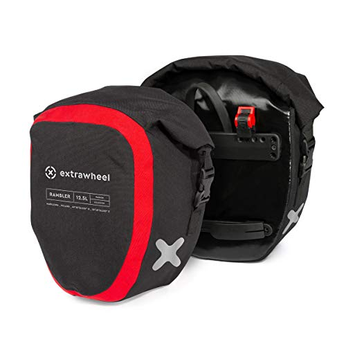 EXTRAWHEEL 2er Set [25L-50L] Fahrradtasche Wasserdicht Geruchsneutral Gepäckträger Hinterradtasche Cordura/Polyester (Material: Polyester, 25L (2x12,5L))