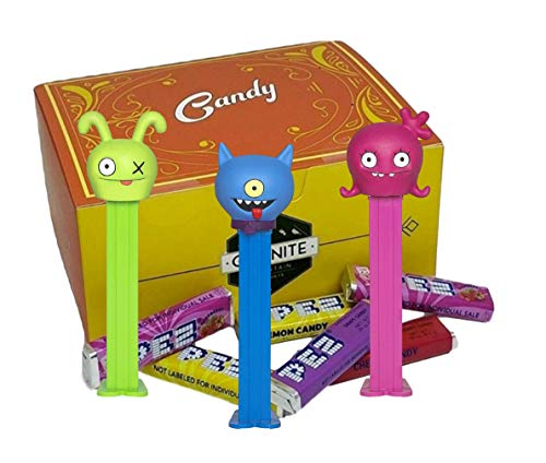 PEZ Ugly Dolls Dispenser Set - With 2 EXTRA Pez Candy Refills   One Of Each Dispenser Ox, Moxy, and Ugly Dog   Ugly Doll Party Favors In A Gift Candy Box