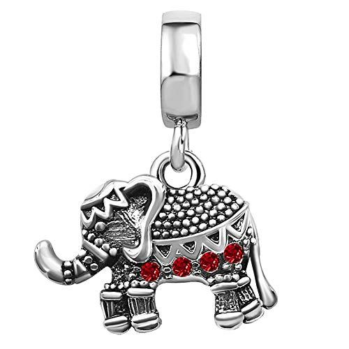 JMQJewelry Elephant Heart Love Dangle Birthday Birthstone Red July Charms for Bracelets Wife Sister Gifts