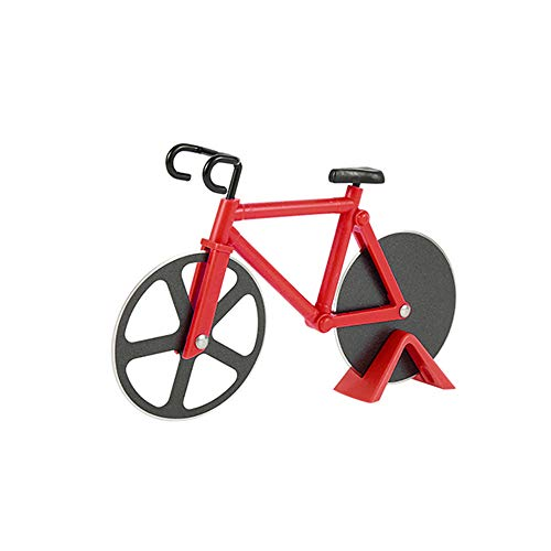 Bicycle Shaped Pizza Cutter Nonstick Cutting Wheels Stainless Steel Bike Pizza Slicer with Stand for Pizza Lovers Kitchen Gadgets Housewarming Party Supplies