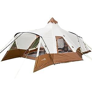 Skandika Navaho Teepee Desert Pyramid Indiana Family Group Tent, Sewn-In-Groundsheet, 2 Sleeping Pods, 5000 mm Water Column, 5 Person