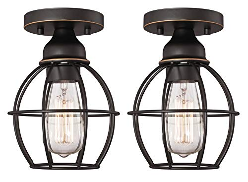 Gruenlich Outdoor/Indoor Flush Mount Ceiling Light Fixture, One E26 Medium Base 60W Max, Metal Housing and Metal Cage, Bulb not Included, 2-Pack (Oil Rubbed Bronze Finish)