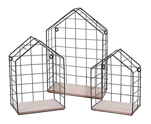 Spetebo Metall Wandregal in Hausform - 3er Set/schwarz - Deko Gitter Regal Schweberegal Hängeregal