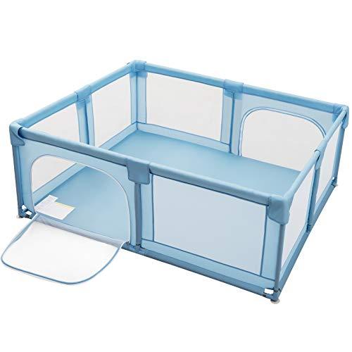 COSTWAY Baby Laufstall mit 2 Türen, Laufgitter mit atmungsaktivem Netz und Reißverschluss, Krabbelgitter, Laufgitterzelt für Säuglinge und Kleinkinder (Blau)