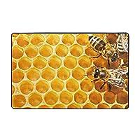 ミツバチと蜂蜜 Honey フロアマットウォッシャブルフランネルフロアマット耐久性があり、快適でふわふわ 充填ポリウレタンフォーム サイズ60 * 39in