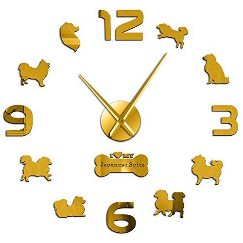 Reloj de Pared Japonés Spitz Perro Animal Acrílico Reloj de Pared Grande Cachorro Tienda de Mascotas Relojes Decoración de Pared Pegatinas DIY Reloj Colgante sin tictac