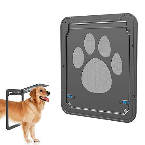 Companet Pet Screen Door Sliding Screen Dogs Door with Magnetic Flap Automatic Lockable Dog Screen Gate for Small/Medium Dog and Cat- S