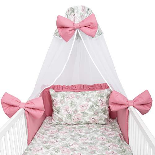Amilian Juego de ropa de cama para bebé, 7 piezas, con protector de cuna, 100 x 135 cm, cielo, ropa de cama para bebé Klematis (dosel de gasa)