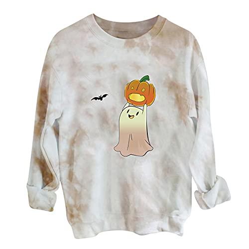 Sudadera de Halloween con diseño de calabaza, cuello redondo, estilo vintage, ropa deportiva, suelta, larga, informal, para otoño, blusa, Blanco, S