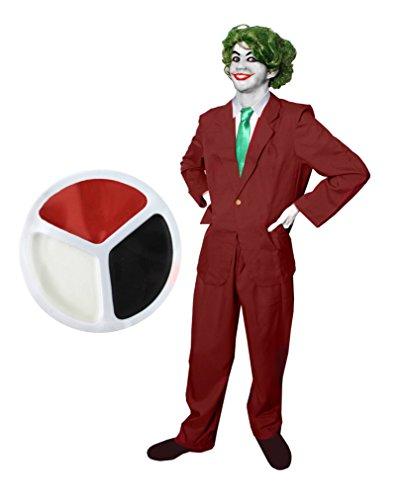 ILOVEFANCYDRESS - Disfraz de maestro malvado (6 piezas, chaqueta y pantalones), corbata verde, guantes blancos, peluca verde, rojo, negro y blanco