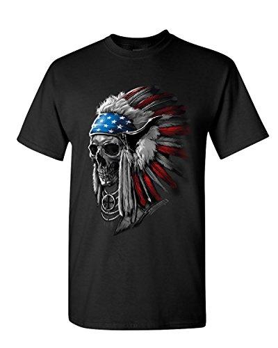 Chief Skull Headress T-Shirt Native American Stars and Stripes Mens Tee Shirt Black M
