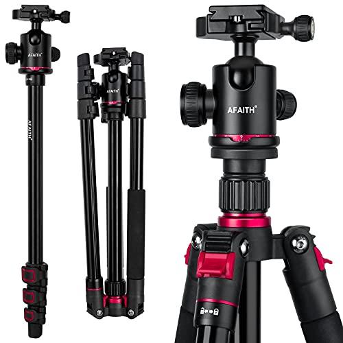 AFAITH Trípode de cámara profesional, trípode compacto de aluminio monopié con giro panorámico de 360 grados, trípode de viaje portátil para Canon, Nikon, Sony y otras cámaras DSLR