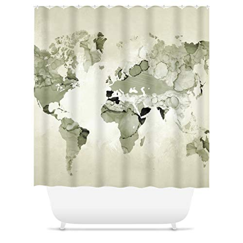 Ad4ssdu4 Douchegordijnen Wereldkaart Douche Gordijn Licht olijfgroen Douche Gordijn Ontwerp 123 Salie groen Home Decor
