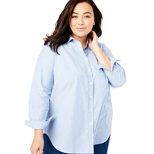 Woman Within Women's Plus Size Perfect Long-Sleeve Button Down Shirt - 2X, French Blue Stripe