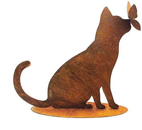 itsisa ® Dekofigur Katze mit Schmetterling auf Standplatte im Rost Design, Rostfigur für den Garten