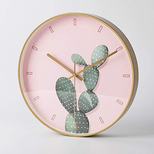 YANG1MN.Clock Nordic Reloj De Pared De Cristal De Color Rosa De Silencio Y Metal Materiales Simples Relojes Electrónicos Personalidad Creativa Campana Muda del Tamaño De 35cm * 35cm * 4.5cm